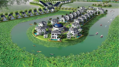 Hàng trăm chiếc bể bơi tại dự án Vườn Vua Resort & Villa