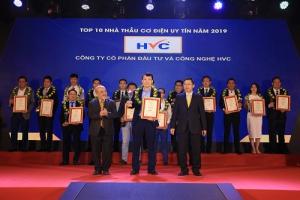 HVC Group được vinh danh top 10 nhà thầu cơ điện uy tín năm 2019